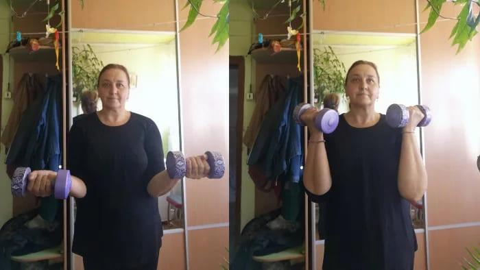 В 56 лет убираю «крылья» с рук. По-моему, получается неплохо